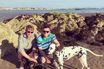 Phil (right) and Rob enjoying a day out with their dogs.