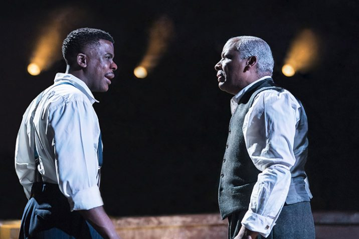 L-R Ashley Zhangazha as Biff and Don-Warrington as Willy Loman. Credit: Johan Persson