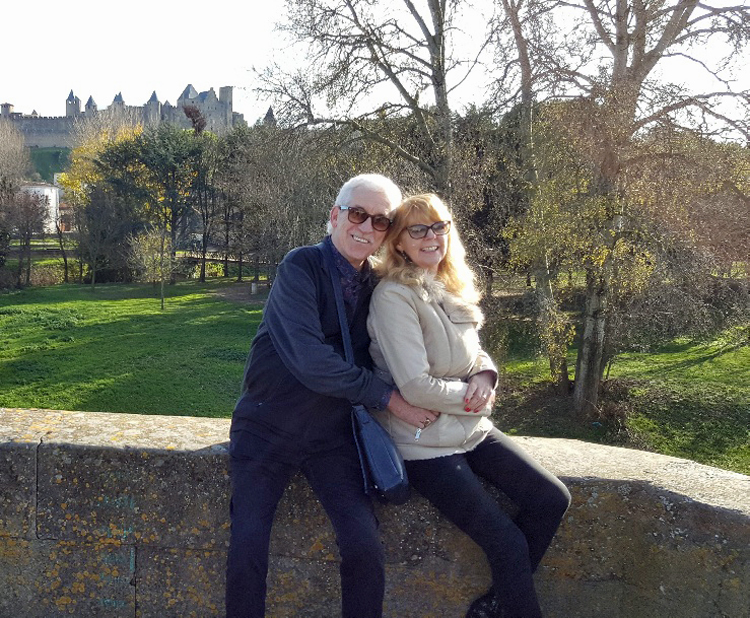 Lorraine and her husband, Bob by Carcassonne castle