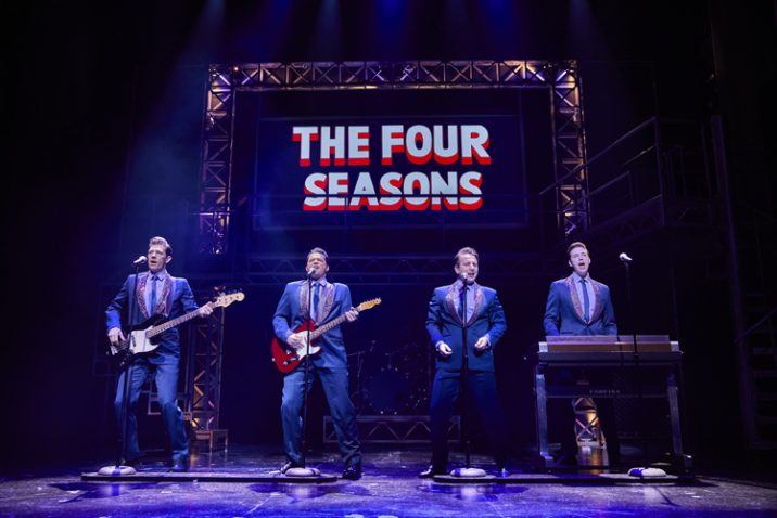 L-to-R Lewis Griffiths, Simon Bailey, Michael Watson and Declan Egan in JERSEY BOYS. Credit Brinkhoff and Mögenburg