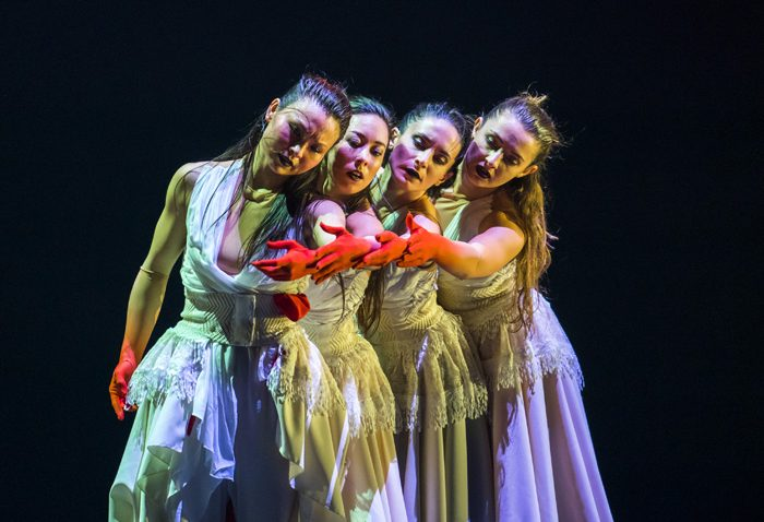 Front to back: Vanessa Vince-Pang, Manon Adrianow, Carmen Vazquez Marfil and Natalie Alleston in Phoenix Dance Theatre and Opera North's The Rite of Spring choreographed by Jeanguy Saintus. Photo by Tristram Kenton.
