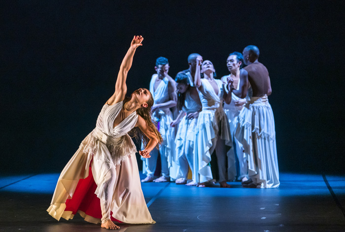 Natalie Alleston and the Company Dancers in Phoenix Dance Theatre and Opera North's The Rite of Spring choreographed by Jeanguy Saintus. Photo by Tristram Kenton.