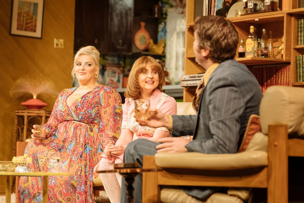 Jodie Prenger (Beverly) Vicky Binns (Angela) Dan Casey (Lawrence) in Abigail's Party
