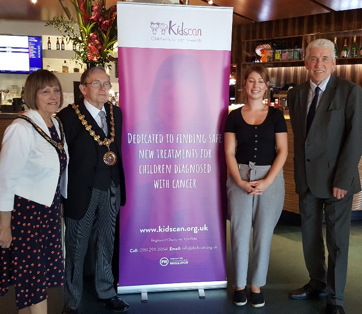 Ceremonial Mayor & Mayoress of Salford Cllr Ronnie Wilson& Pat Wilson with Randal Rigby GM of Lime Bar & Bob Carter CEO of Kidscan Children's Cancer Research Charity
