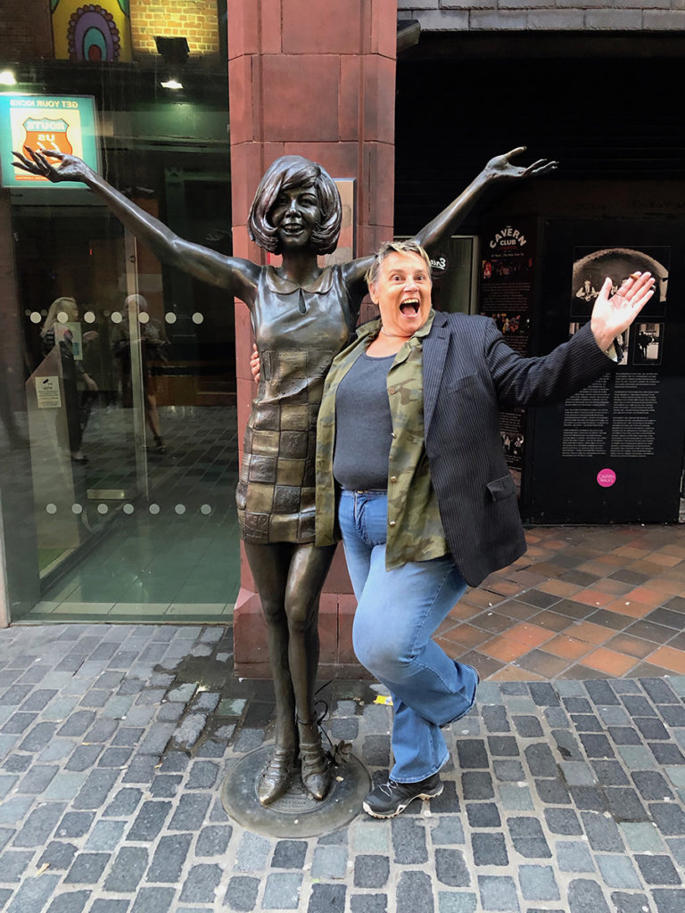Liz with Cilla Black statue, Liverpool
