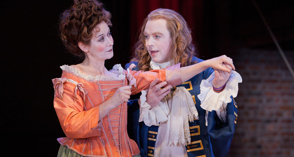 Alexandra Gilbreath and Rufus Hound in The Provoked Wife at Swan Theatre, Stratford. Photo by Pete Le May (c) RSC.