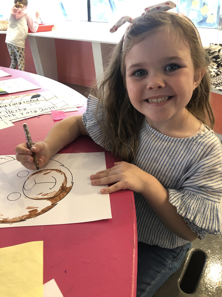 Free activities: Making a bear mask in the Lowry's Lookout .