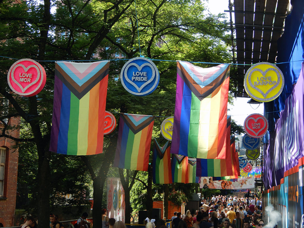 Decorative banners on Canal Street for Manchester Pride