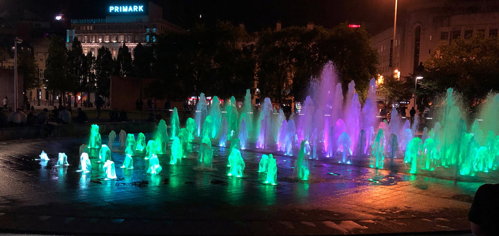 Coloured fountains at Piccadilly Gardens