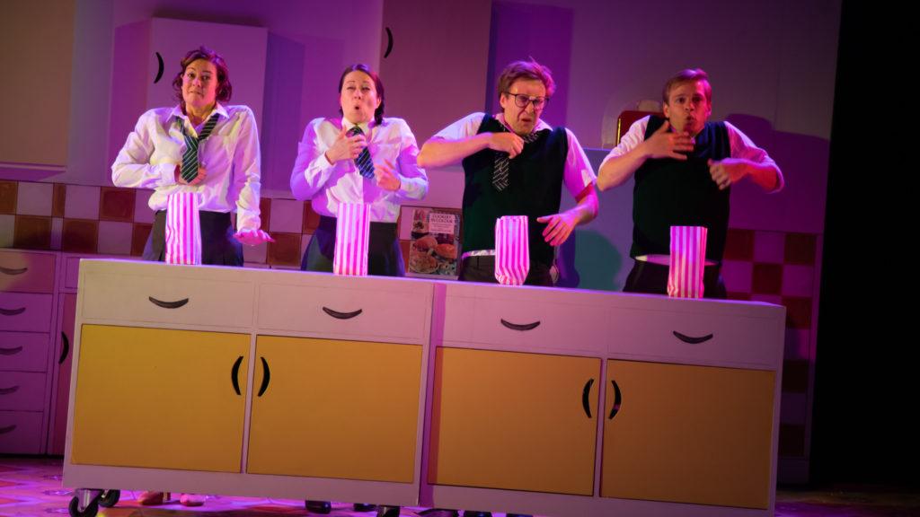 (L-R) Katy Federman, Samantha Hopkins, Stefan Edwards, Giles Cooper in Toast - photo credit Piers Foley