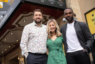 CURTAINS. Jason Manford, Carley Stenson, Ore Oduba. Photo Phil Tragen