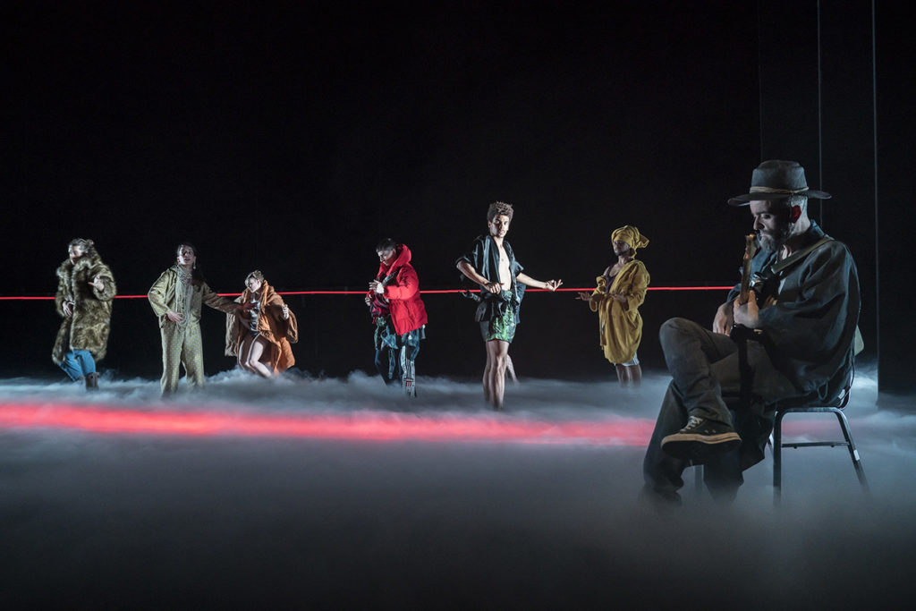 ROUGE by Motin. Choreographer- Motin, Music - Micka Luna, Costume Design-Yann Seabra, Lighting Design-Judith Leray, Rambert , Churchill Theatre, Bromley, UK, Credit: Johan Persson