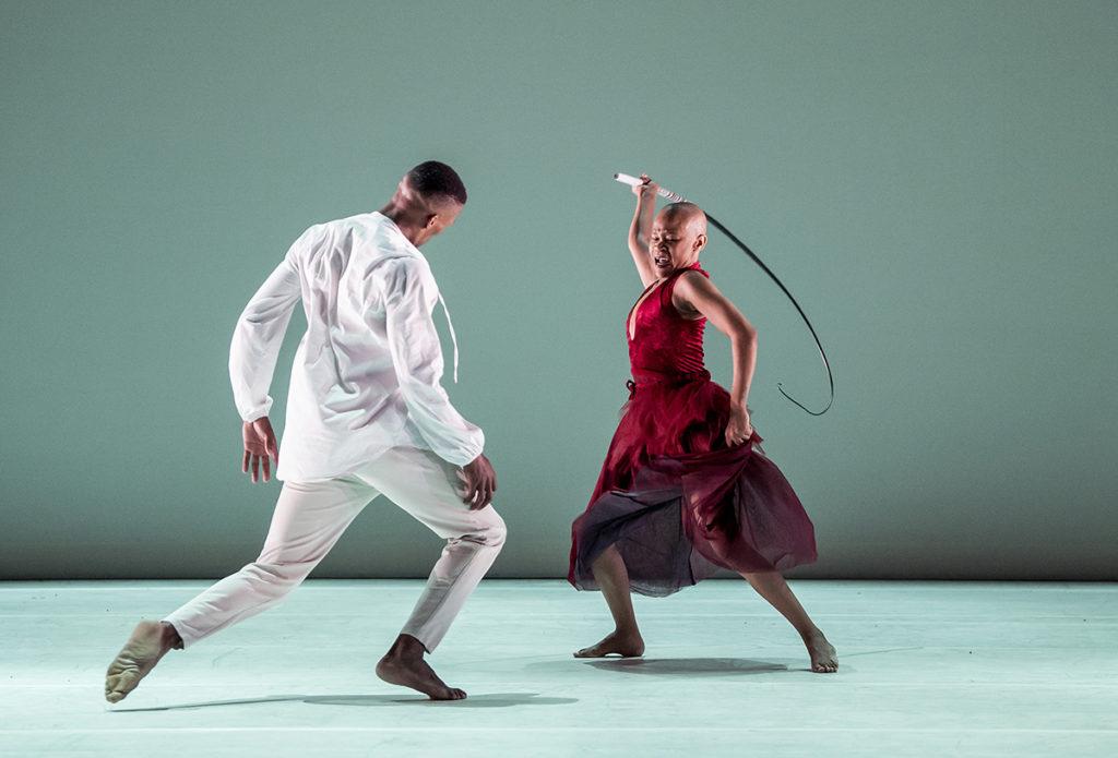 Dada Masilo as Giselle and Lwando Dutyulwa as Albrecht ©Tristram Kenton