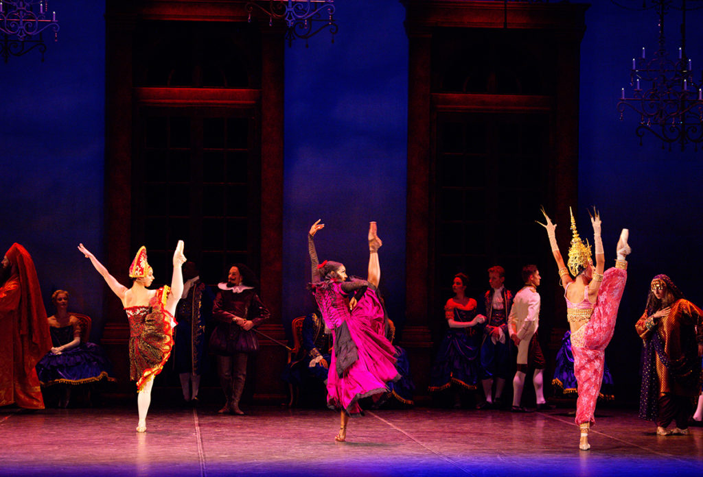 Julia Conway, Precious Adams and Jia Zhang in English National Ballet's Cinderella (c) Laurent Liotardo