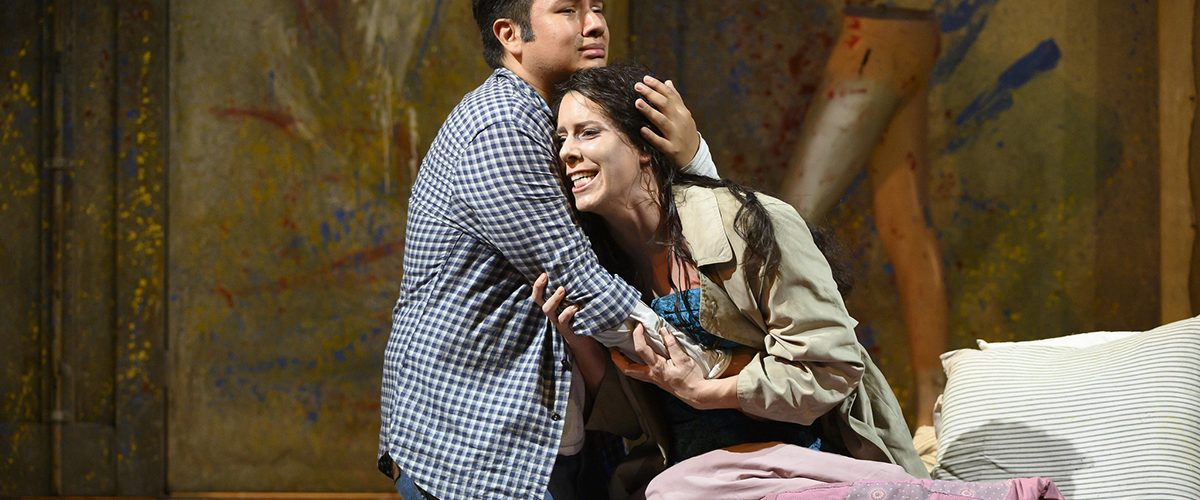 Opera North's production of Puccini's La Bohème Eleazar Rodriguez as Rodolfo and Lauren Fagan as Mimì Photo credit: Richard H. Smith