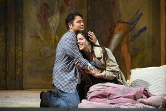 Opera North's production of Puccini's La Bohème Eleazar Rodriguez as Rodolfo and Lauren Fagan as Mimì Photo credit: Richard H. Smith