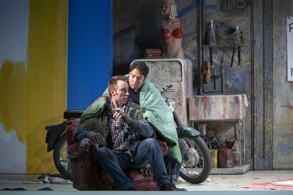 Opera North's production of Puccini's La Bohème Yuriy Yurchuk as Marcello and Eleazar Rodriguez as Rodolfo Photo credit: Richard H. Smith