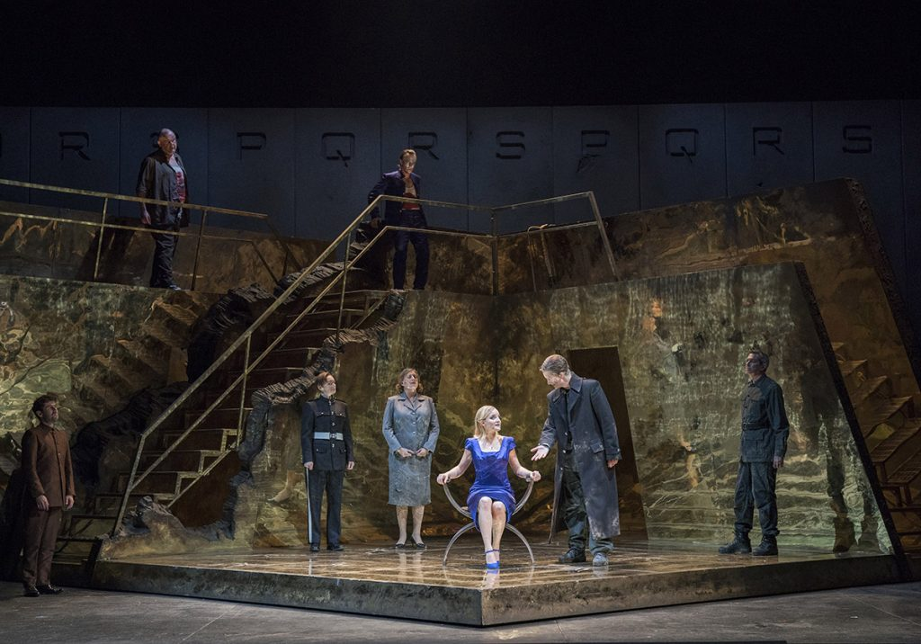 Opera North's production of Handel's Giulio Cesare Catherine Hopper as Cornelia, Maria Sanner as Giulio Cesare and Lucie Chartin as Cleopatra Conductor Christian Curnyn, Director Tim Albery, Set and Costume Designer Leslie Travers, Lighting Designer Thomas C. Hase, Fight Director Tom Fermor Photo credit: Alastair Muir