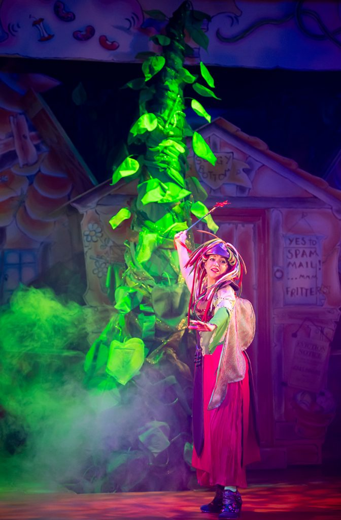 Jenny Platt as Good Fairy Greenfield in Jack and the Beanstalk pantomime at Oldham Coliseum. Credit Darren Robinson
