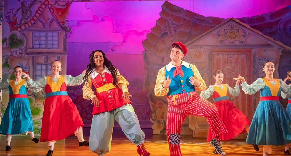 Shorelle Hepkin and Sam Glen in Jack and the Beanstalk pantomime at Oldham Coliseum Theatre. Credit Darren Robinson