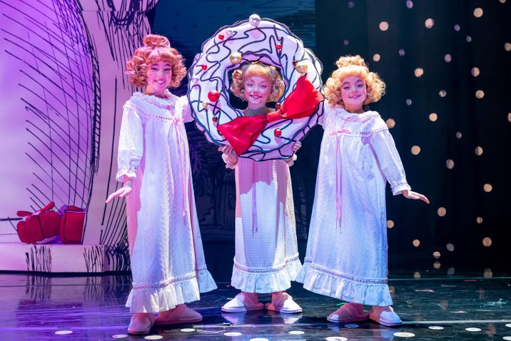 Cindy-Lou L-R Eve Corbishley, Bebe Massey & Isla Gie 2019 Cast of Dr Seuss' How The Grinch Stole Christmas! The Musical.