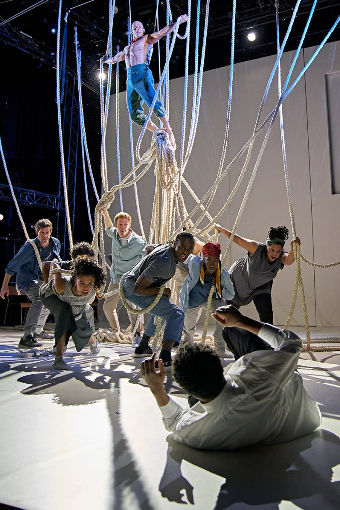 Keith Gilmore (Monster) and the cast of A Monster Calls UK Tour. Photo credit Manuel Harlan.