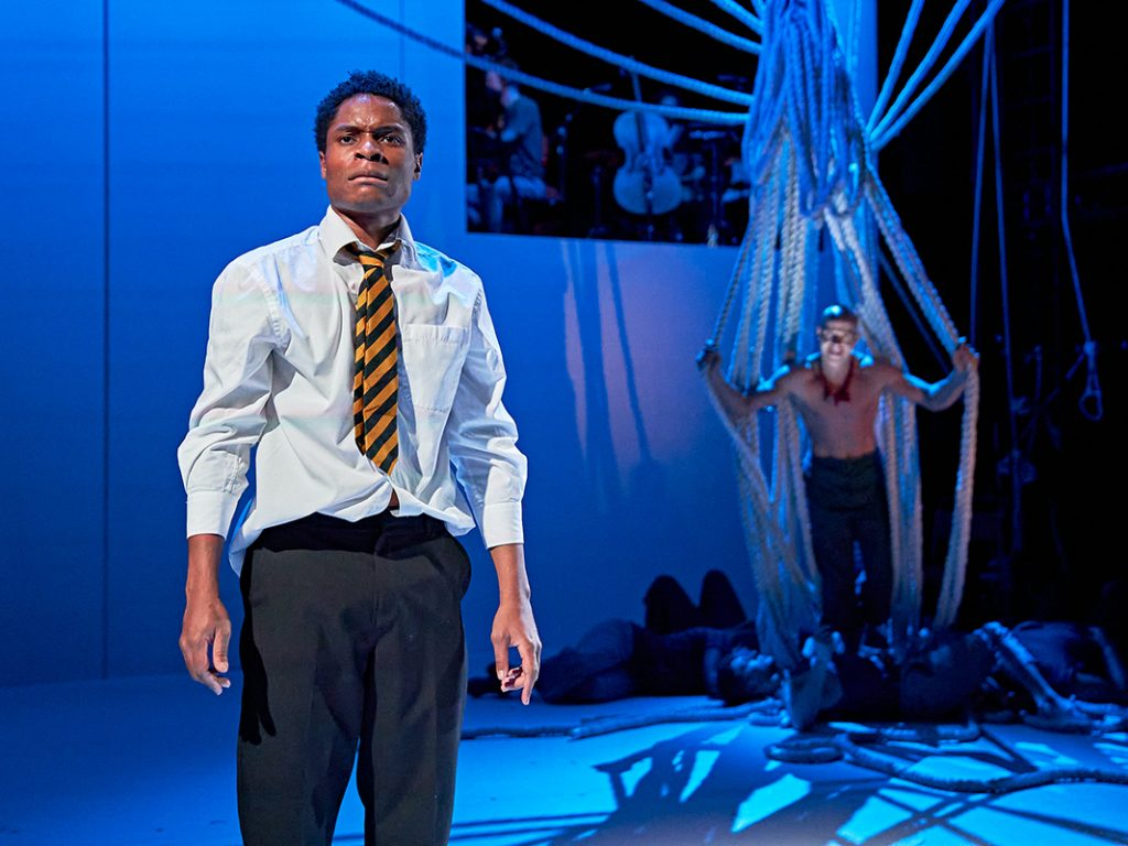 L-R Ammar Duffus (Conor) and Keith Gilmore (Monster) in A Monster Calls UK Tour. Photo credit Manuel Harlan.