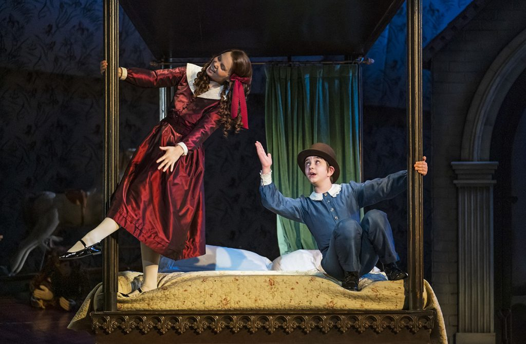 Opera North's production of Britten's The Turn of the Screw  Jennifer Clark as Flora and Tim Gasiorek as Miles. Photo Tristram Kenton