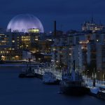 Stockholm. The Globe at night. Photo by Soren Andersson
