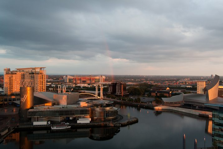 View of the Lowry from Media City. Photo by Zarrion Walker