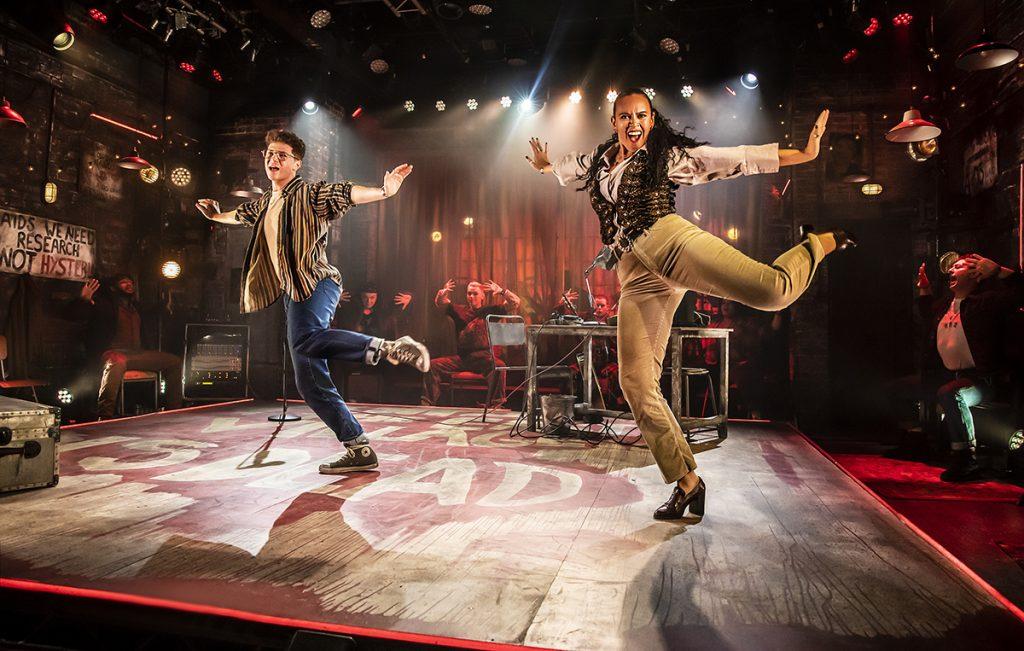 Jocasta Almgill (Joanne) and Blake Patrick Anderson (Mark) in RENT at Hope Mill Theatre. Photographer Pamela Raith.jpg