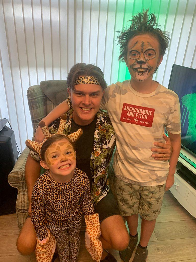 DJ Tom Finkill and his children Charlie and Sofia