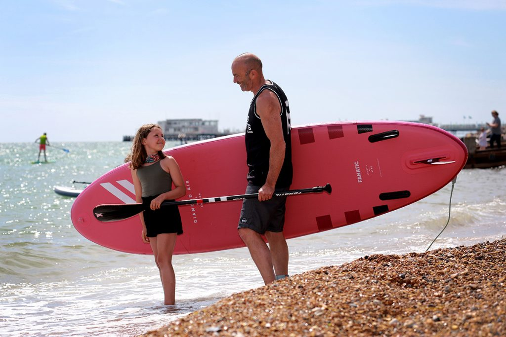Worthing paddle board father daughter