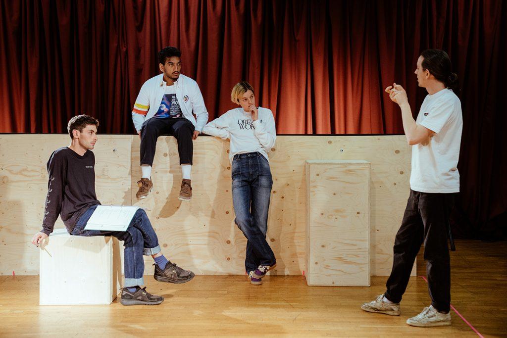 ANNA X - Joseph Charlton (playwright), Nabhaan Rizwan (Ariel), Emma Corrin (Anna), Daniel Raggett (Director). pic by Helen Murray
