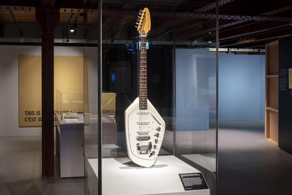 Vox Phantom Guitar as played by Ian Curtis on display in Use Hearing Protection at The Science and Industry Museum