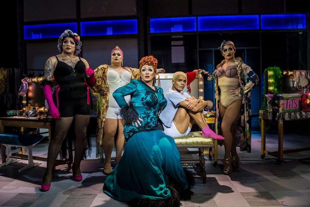 Shane Richie (Loco Chanelle), Layton Williams (Jamie New) and the Drag Queens in the Everybodys Talking About Jamie Tour. Photo Credit Matt Crockett