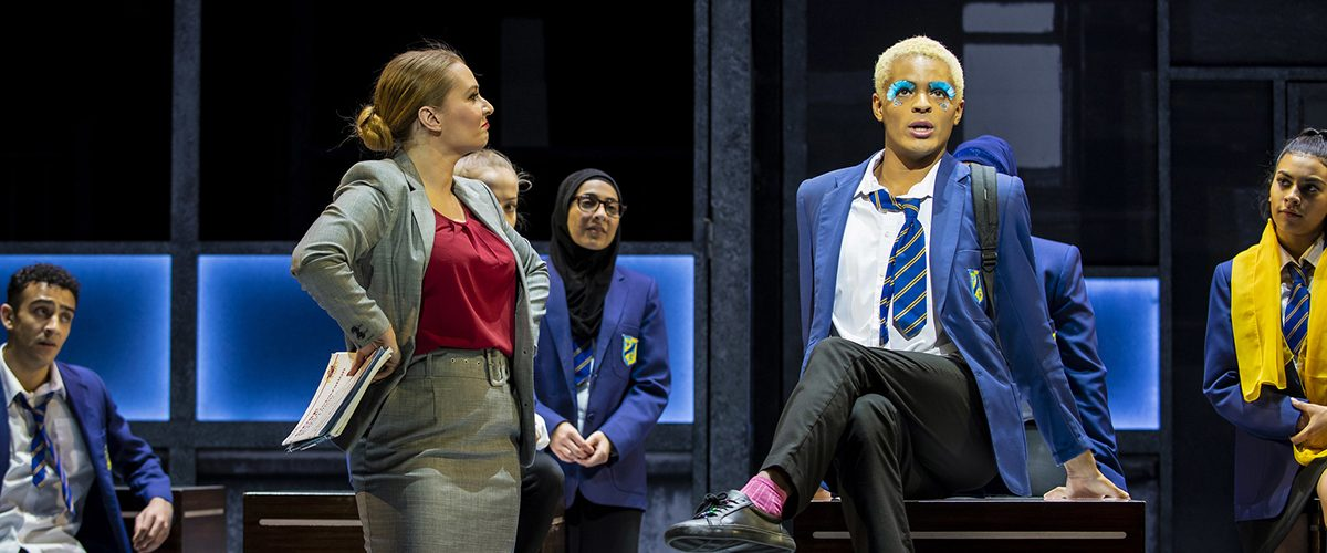 Lara Denning (Miss Hedge) and Layton Williams (Jamie New) in the Everybody's Talking About Jamie Tour.