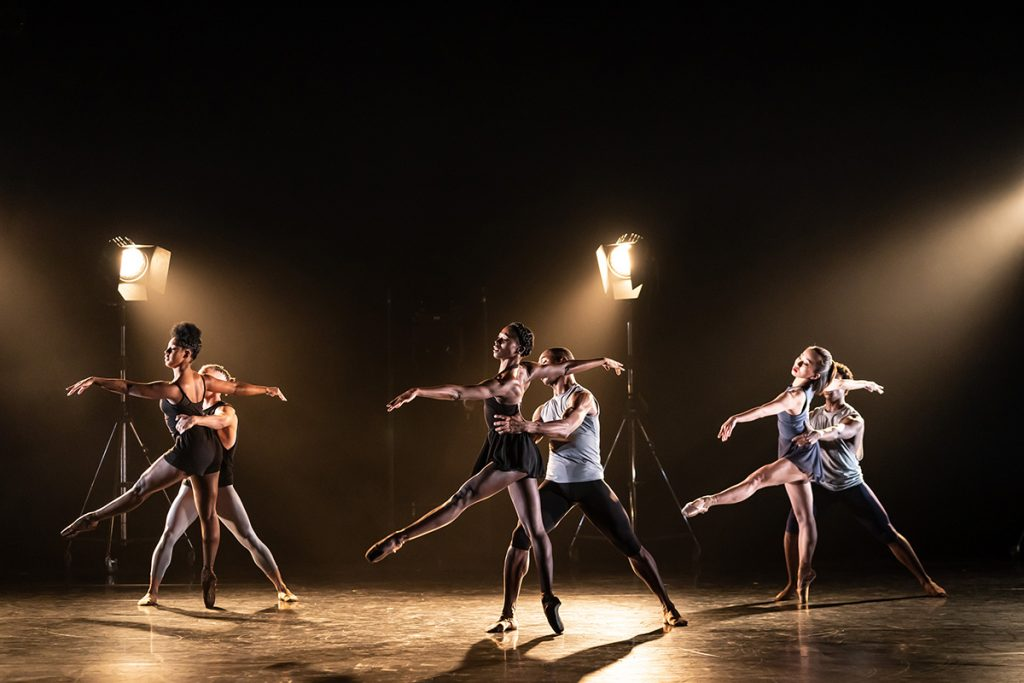 Cassa Pancho's Ballet Black in Then Or Now, choreographed by Will Tuckett. Dancers: (L-R) Ebony Thomas, Isabela Coracy, José Alves, Cira Robinson, Mthuthuzeli November, Sayaka Ichikawa. Photography by Bill Cooper.