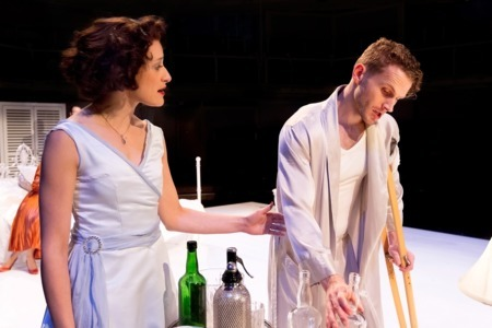 Mariah Gale as Maggie and Charles Aitken as Brick in Cat on a Hot Tin Roof Credit Jonathan Keenan