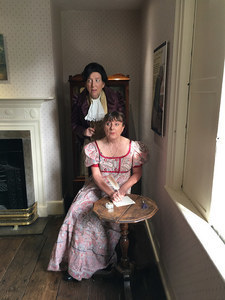 Maggie Fox as Mr Darcy and Sue Ryding as Jane Austen