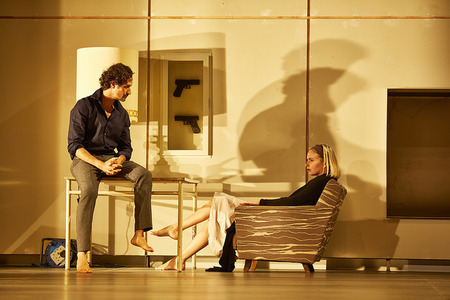 Abhin Galeya (Tesman) and Lizzy Watts (Hedda Gabler) in Hedda Gabler. Credit Brinkhoff Mogenburg