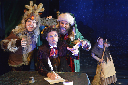 Ashley Bowden (rudolph) Neal Foster (Dickens) Chris Gunter (Sydney Claus) Laura Dalgleish (Ella) Credit Ian Tilton