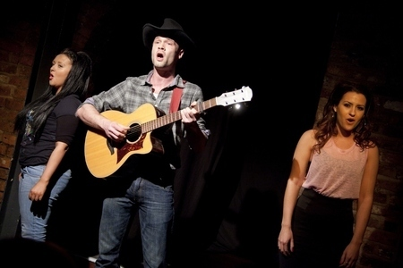 Kimberley Hart-Simpson, Nicholas Coutu-Langmead and Alexa Hartley in The Ballad of Valentino Rivas
