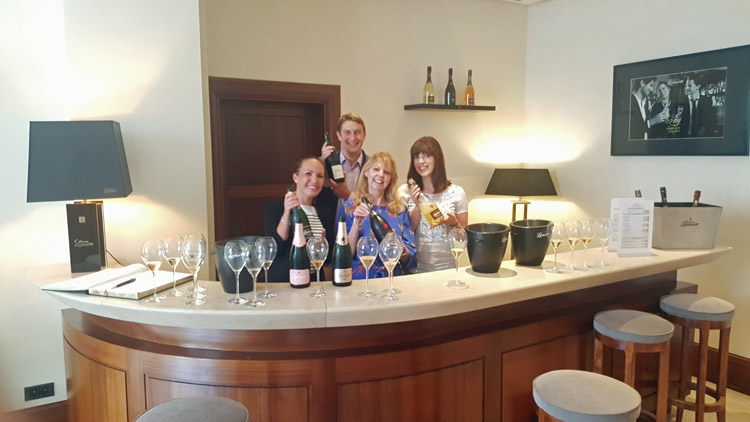 Marie-Julie of Lanson and International Export Manager, Edouard de Boissieu with Lorraine and her daughter, Hayley.
