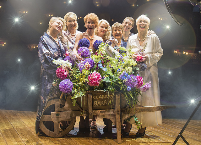 l-r Rebecca Storm, Fern Britton, Anna-Jane Casey, Sara Crowe, Ruth Madoc, Karen Dunbar & Denise Welch in CALENDAR GIRLS THE MUSICAL