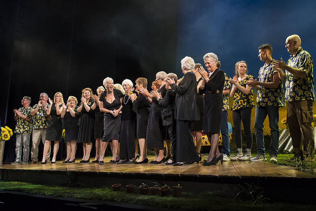 The Original Calendar Girls at the Curtain Call of the Final Dress Rehearsal for CALENDAR GIRLS THE MUSICAL. Credit Matt Crockett