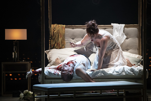 Robert Hayward as Scarpia and Giselle Allen as Tosca Conductor Antony Hermus, Director Edward Dick, Set Designer Tom Scutt, Costume Designer Fotini Dimou, Lighting Designer Lee Curran, Choreographer Maxine Braham Photo credit: Richard H Smith