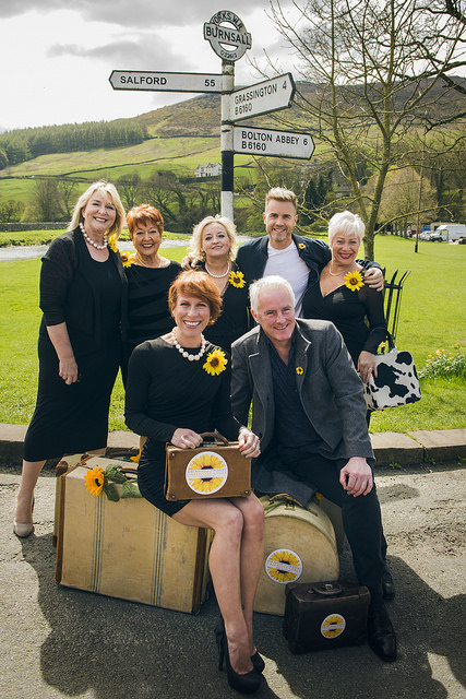 Back LtoR Fern Britton, Ruth Madoc, Rebecca Storm, Gary Barlow, Denise Welch_ Front Anna-Jane Casey & Tim Firth, credit Matt Crockett