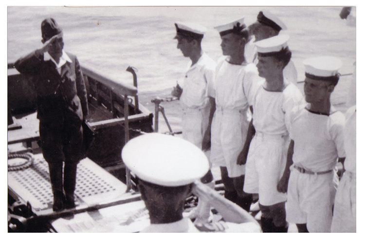 John Stanley Lawrence in Penang as part of the welcoming committee, as a Japanese Admiral came aboard ship to sign the peace treaty.