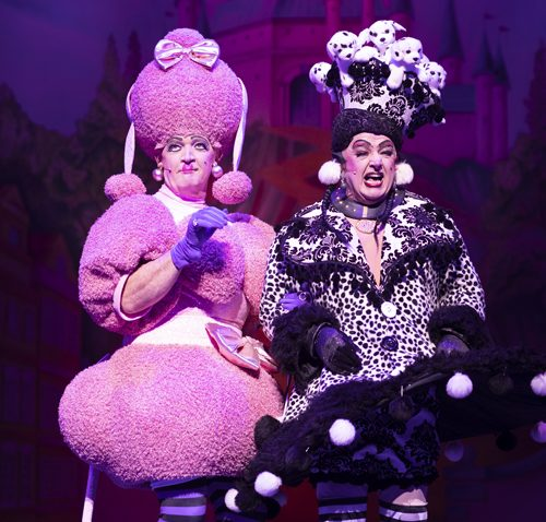 Connor McIntyre and Les Dennis as the Ugly Sisters. Photo: Phil Tragen